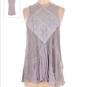 Maurices gray/lavender lace tank top